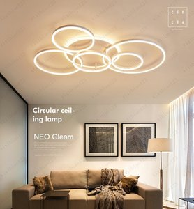 Remote Controller 2 3 5 6 Circle Rings Modern led Chandelier For living Room Bedroom Study Room White Brown Color Chandelier Free shipping