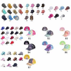 Хвостик Бейсболка Gliter Messy Bun Шляпа Омывается Хлопок Tie Dye Snapbacks Leopard ВС Visor Открытого Hat Party Hats ZZA2048-1