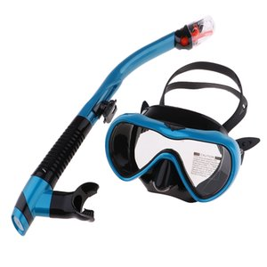 Dry Top Snorkel Set Anti-Fog Clear Vision Snorkel Mask Impact Resistant Tempered Glass Diving Mask, 8 Colors for Choose