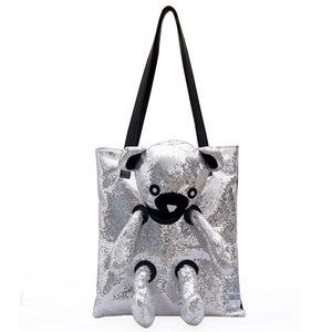 2019 summer new wave sequins hand bag shoulder bag Korean version of the bear fashion wild tote bag