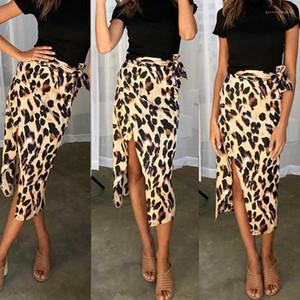 Faldas de la gasa de la correa de Split para mujer de una pieza faldas atractivas con paneles de una línea femenina Faldas verano leopardo de las señoras