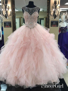 Prom Ball Gown See Through Neck Tulle Light Pink Quinceanera Dresses 2019 Jewel Neck Ruffles Tiered Skirt Crystal Evening Occasion Gown