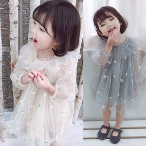 Özellik Öncelikle İlkbahar Sonbahar Elbise Küçük Kız Bebek Bebek Prenses Giydirme Nakış Çiçek Bebek Partisi 2019 Yeni İplik Elbise