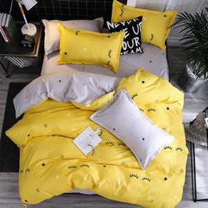 Kirpik yıldız sarı 4adet Kid Yatak Örtüsü Seti Karikatür Nevresim Yetişkin Çocuk Nevresim ve Yastık kılıfı Yorgan Yatak Seti 61018