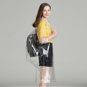 Trasparente EVA vinile impermeabile Impermeabile Women cappotto di pioggia Poncho di copertura impermeabile Runway zaino Impermeabili Famale all'aperto Tour Pioggia Mantello