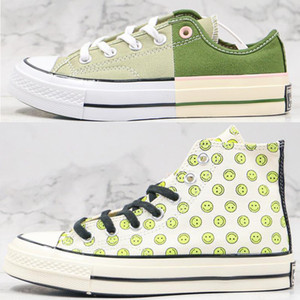 Classic Canvas Shoes 1970s Chuck 70 HAPPY CAMPER Smile Print Mens Women All Star Skateborad Shoes Casual Shoe 1970 High Green Sneaker 36-44