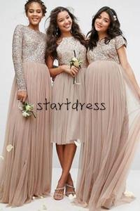 Дизайнер Несовместимость шампанского Блестки невесты платья с длинным рукавом Тюль Дешевые Плюс Размер Страна плиссе Формальное платье для беременных