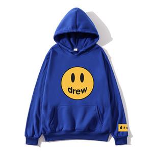 19FW Drew House New Renk Mavi Kapüşonlular Erkekler Kadınlar Çiftler Drew Yüz Baskılı Hoody Tişörtü Men Gülümseme