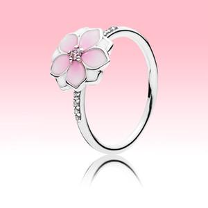 Anello di fiori rosa dei fiori Bellissimi gioielli estivi per Pandora 925 Sterling Silver CZ Diamond Girl anelli con set di scatola originale