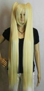 SPEDIZIONE GRATUITA ++ Bionda leggera 100cm Extra lunga dritta Cosplay tipo spaccato parrucca