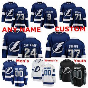 Tampa Bay Lightning jerseys Ryan Callahan Jersey Anthony Cirelli Adam Erne Yanni Gourde Tyler Johnson hockey sobre hielo de los jerseys cosido personalizada