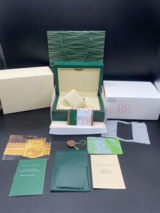 أفضل جودة احدث اسلوب العلامة التجارية الأخضر الداكن الأصل ودي ووتش أوراق القضية هدية حقيبة جلدية للرولكس صندوق 116610 الساعات صناديق