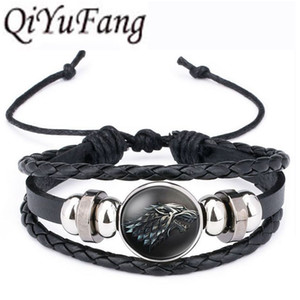 QiYuFang Jogo dos Tronos Pulseira De Couro Casa Stark Jóias Multicamadas Preto Weave Charme Pulseiras para Mulheres Homens