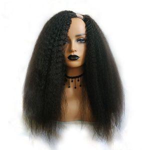 Kinky Straight U Part Wig For Black Woman Human Hair Wigs Brazilian Remy Hair 150 Density Italian Yaki Medium