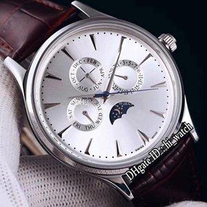 Nouveau Master Control Q149342 Daydate Moon Phase automatique Hommes de montre en acier cadran argenté Bâton Marqueurs bracelet en cuir brun Hi_Watch E131d4