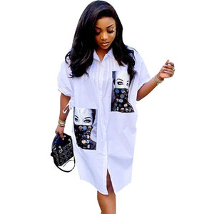 Diseñador flojo blanco camisa de vestido ocasional de las mujeres Streetwear vestido de otoño medio de la manga de impresión de caracteres botón de la camisa de vestir