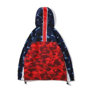 Модный бренд мужской цвет сращивания кофты куртка любовника синий красный камуфляж спорт хип-хоп ветровка куртка