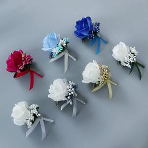 Handmade Corsages sposo Boutonniere fiore artificiale asole bianca di seta verde Rose Corsage per nozze vestito dell'uomo Spilla