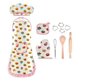 Kids Chef Costume, Chef Apron Hat and Cooking Baking Set Cooking toy for Age 3-8, 11 PCs Chef Set for Kids Toddlers Career Role Play Toy