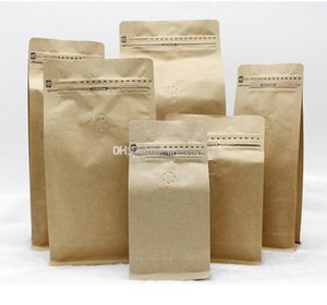 stand up coffee bean tea packing bag kraft paper bag with air valve open design with ziplock 6 size mini order: 20pcs fee shippping