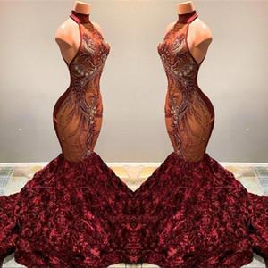 2019 Borgogna Lace Mermaid Prom Dresses lungo Illusion Applique in rilievo 3D Fiori Halter Sweep Train Abiti da sera Abiti da festa