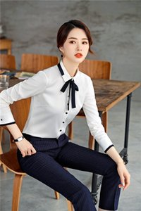 High Quality 2019 Spring Fall Formal Business Suits 2 Piece Sets With Pants and Tops Ladies Blouses & Shirts Office Work Wear
