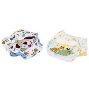2 Pcs Cotton Waterproof Washable Diaper Training Pants Layer Learning Panties for Baby, Dog Pattern & Elephant Pattern