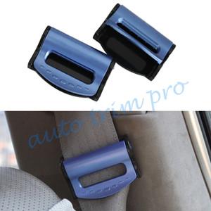 2pcs Blue Car Truck Inner аксессуары Ремень безопасности Ограничитель Настройщик Регулировать держатель пряжки Пластиковый зажим зажим Часть уравновешивание