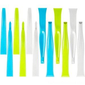 12 Stiff peças de plástico de limpeza doméstica Ferramentas Organização Housekeeping Multipurpose raspador Garrafa Can Opener Gum raspador Etiqueta Remove