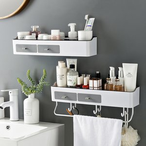 Punch-özgür Banyo Organizatör Şampuan Kozmetik Depolama Banyo Mutfak Havlu Tutucu Ev Eşyaları Banyo Aksesuarları Y200429 Rack