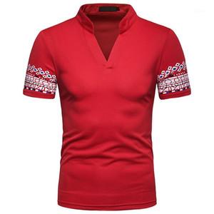 Erkek T shirt Moda Erkek V Yaka T-shirt Casual Şort Kol Yaz Tasarımcı Basım Tops