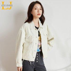 De nouvelles LEIJIJEANS grande taille dames casual femmes denim veste blanche mode tendance vent collège veste denim courte