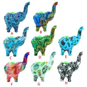 New Printed elephant bubbler Water Pipes smoking pipe silicone bong dab Rigs bong Hookahs Portable and unbreakable
