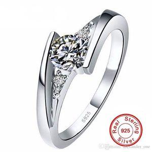 Gümüş Key4fashion Ücretsiz Gönderilen Sertifika !!! 100% Saf 925 Ayar Gümüş Yüzük Seti Lüks 0.75 Karat CZ Diamant Alyans Kadınlar için