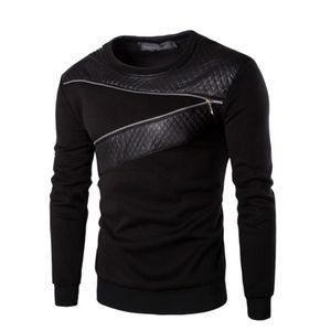 Мужские футболки весна осень свитер толстовки толстовки Мода Мужчины Топы Zipper Строчка панелями с длинным рукавом высокого качества