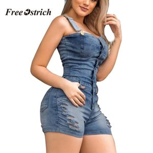 Free Ostrich Clothes Denim Jumpsuit Women Jeans Hole Pockets Sleeveless Overalls Jumpsuit Short Rompers Pants Casual Playsuits