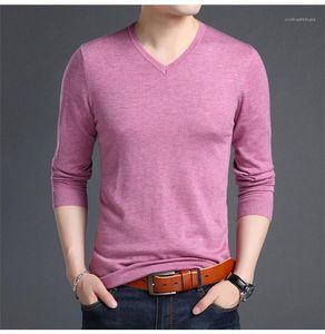 Kol Casual T Shirt Katı Renk V Yaka Erkek Örme T Shirt Bahar Auttumn Erkekler Tasarımcı Gömlek Uzun