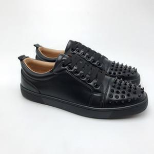 2019 Tasarımcı Ayakkabı lace up Deri düşük kesim Spike ayakkabı süet erkekler için sneakers kırmızı alt ile Sneakers K ...