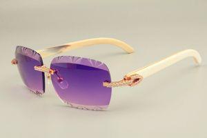 2019 Новые самые продаваемые натуральные солнцезащитные очки белого угла, уникальный дизайн алмазные солнцезащитные очки 8300765 гравированные шаблонные объектив Размер объектива: 56-18-140 мм