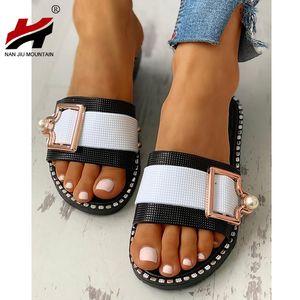 NAN JIU MOUNTAIN 2020 Women's Open Toe Slippers Summer Flat Sandals Pearl Outdoor Buckle Shoes Beach Comfortable Plus Size 40