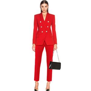 Nuevo diseñador clásico de las mujeres traje pantalón cabeza de león botón de oro de doble botonadura blazer coat delgado pantalones mujer oficina de negocios conjuntos de blazer a118