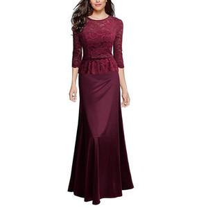 VENFLON Vintage Frühling Sommer Kleid Frauen 2019 Sexy Aushöhlen Schwarze Spitze Maxi Kleid Elegante Lange Abendgesellschaft Kleid Weibliche Y19042401