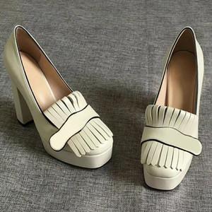 "Mulheres da bomba elevada plataforma de saltos com franja sapatos Marmont Vintage Toe de couro branco Bombas hardware tom duplo 3,3"" 4,5"" altura"