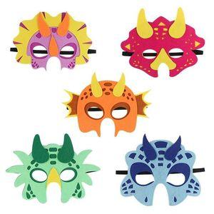 5pcs Felt Máscara Dinosaur Rosto Halloween festa de anos temático Fontes Dinosaur Party Girl Baby Shower presente para as crianças