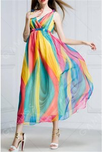 Sin mangas de cuello V atractivo femenino ocasional vestidos de la manera de las mujeres ocasionales ropa de verano Wommer diseñador de la gasa vestidos profunda