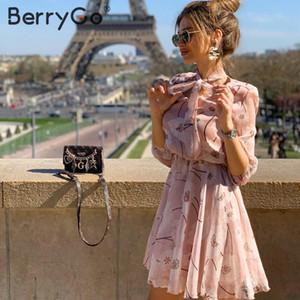 BerryGo Vintage estampado floral boho vestido mujer Casual manga larga primavera chic vestido de fiesta cintura alta ropa de trabajo Oficina señora