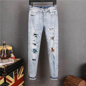 2020 New designer jeans new summer fashion men jeans mens clothing skinny casual pants hip hop jeans hole slim denim trousers