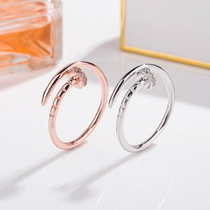 Fashion personality men and women S925 sterling silver nail ring rose gold plated open ring