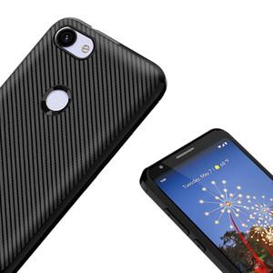 Righe in fibra di carbonio TPU Custodia protettiva antiurto per paraurti posteriore in silicone ultra slim per Huawei P20 Lite / Nova5i / P Smart / Y5 / Y7 / Y6 2019
