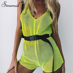 Simenual Neon Yeşil Örgü Tulum Kadın V Boyun Hollow Out Tulum Askı Backless Şeffaf Seksi Tulumlar Yaz Tulum Q190529